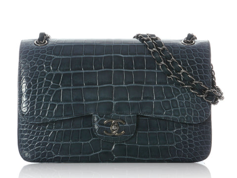 Chanel Blue Alligator Jumbo Classic
