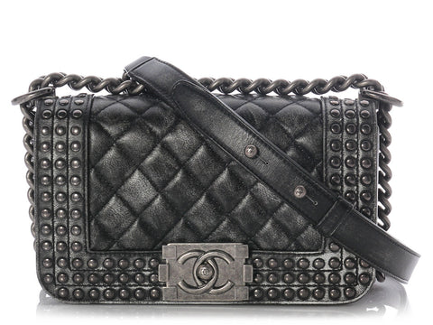 Chanel Small Black Studded Boy Bag