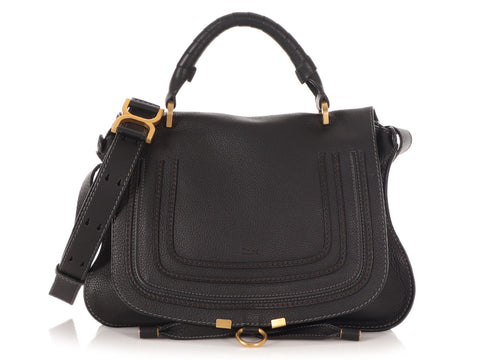 Chloé Medium Black Calfskin Marcie with Strap