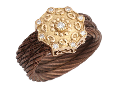 Charriol 18K Rose Gold Diamond and Bronze Cable PVD Celtic Ring
