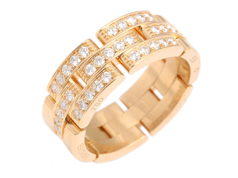 Cartier 18K Gold Diamond Maillon Panthère Three-Row Band Ring