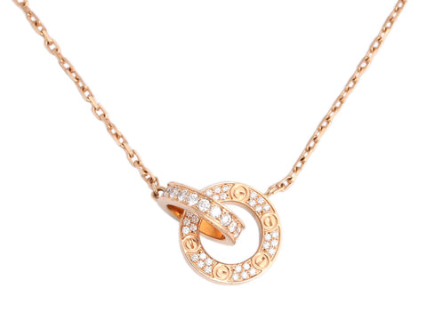Cartier 18K Rose Gold Diamond Love Necklace