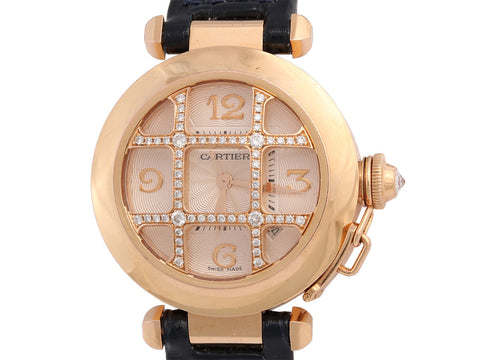 Cartier 18K Rose Gold Diamond Grill Pasha Watch 32mm
