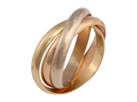 Cartier 18K Tricolor Gold Mens Trinity Rolling Ring