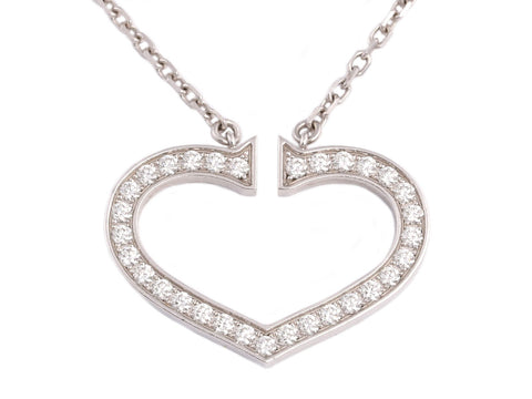 Cartier 18K White Gold Diamond Hearts and Symbols Heart Pendant Necklace
