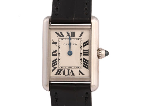 Cartier 18K White Gold Ladies Tank Watch