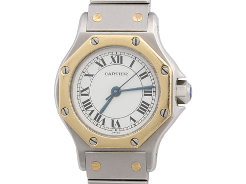 Cartier Two-Tone Ladies Santos Octagon Watch 24mm