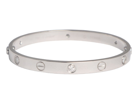 Cartier 18K White Gold 6 Diamond Love Bracelet 17