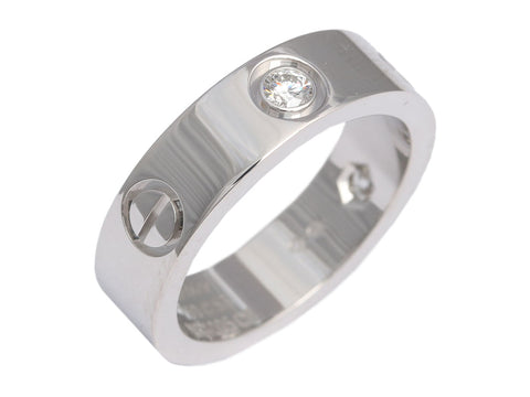 Cartier 18K White Gold 3 Diamond Love Band Ring