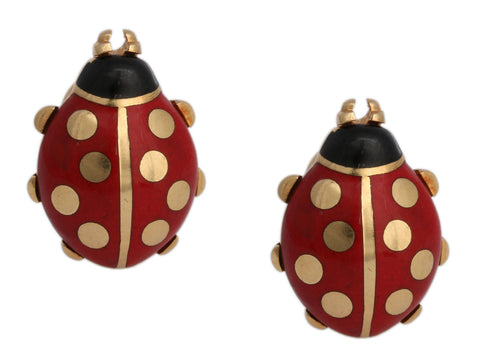 Cartier 18K Yellow Gold and Enamel Ladybug Pierced Earrings