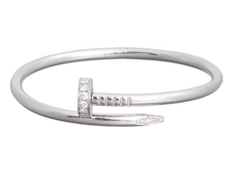 Cartier 18K White Gold Diamond Juste Un Clou Bracelet 17