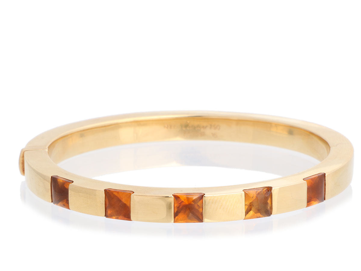 Cartier 18K Yellow Gold Citrine Tank Bangle 16
