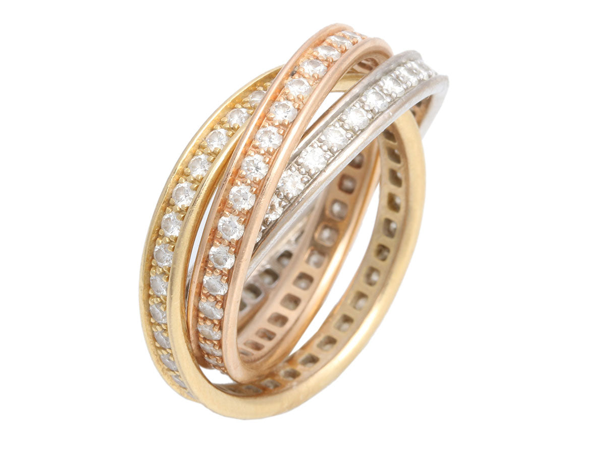 Cartier 18K Tri-Color Gold Diamond Trinity Ring