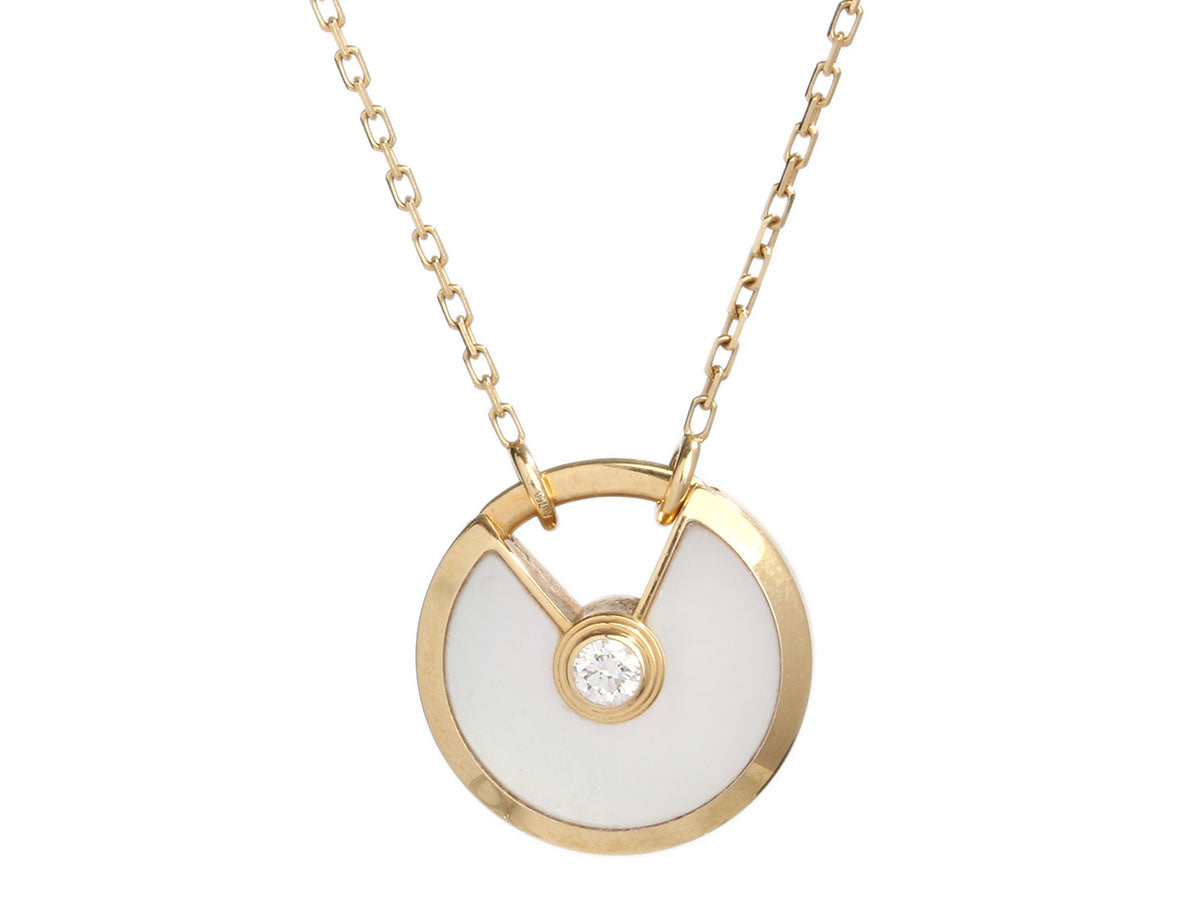 Cartier Small 18K Yellow Gold, Mother of Pearl, and Diamond Amulette de Cartier Pendant Necklace