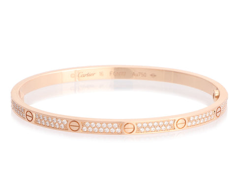 Cartier Small 18K Rose Gold Pavé Diamond Love Bracelet 16