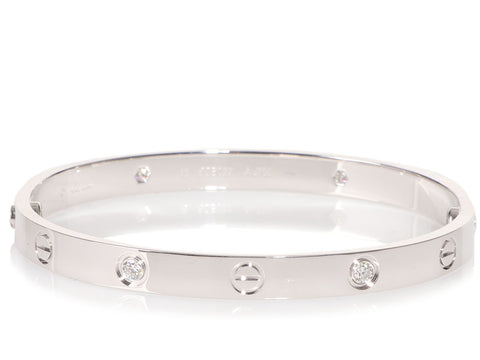 Cartier 18K White Gold 4-Diamond Love Bracelet 18