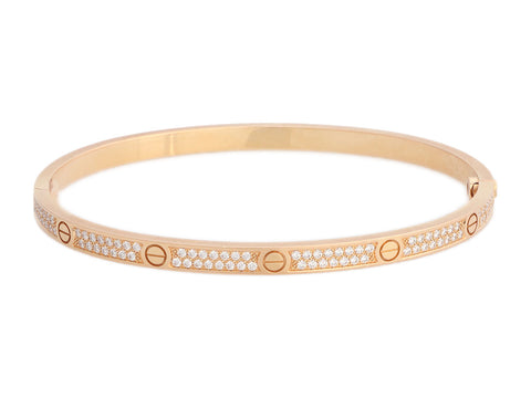 Cartier Small 18K Rose Gold Pavé Love Bracelet