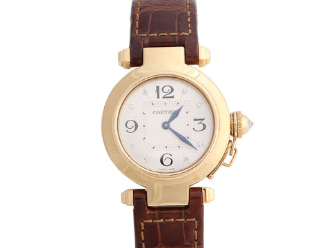 Cartier 18K Yellow Gold Diamond Ladies Pasha Watch 33mm