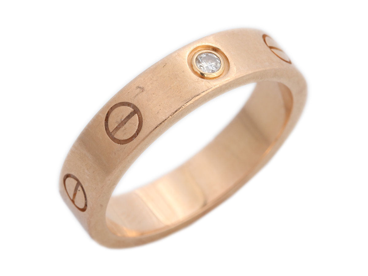 Cartier 18K Rose Gold One Diamond Love Wedding Band Ring