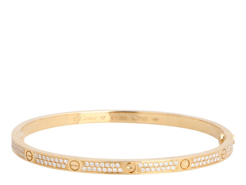 Cartier 18K Rose Gold Pavé Diamond Love Bracelet 17