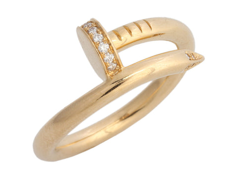Cartier 18K Yellow Gold Diamond Juste Un Clou Band Ring