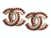Chanel Gold-Tone Burgundy Stone Logo Pierced Earrings