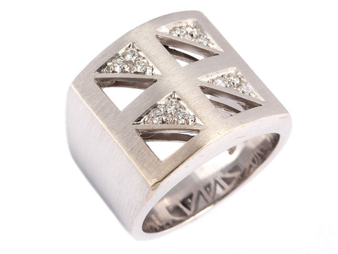 Wide Geometric Diamond Band
