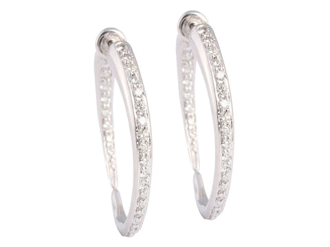 Diamond and 18K White Gold Hoops
