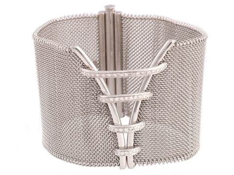 18K White Gold Diamond Mesh Bracelet