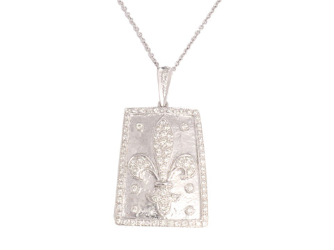 18K White Gold and Diamond Fleur de Lis Necklace