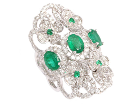 Diamond Emerald Cocktail Ring