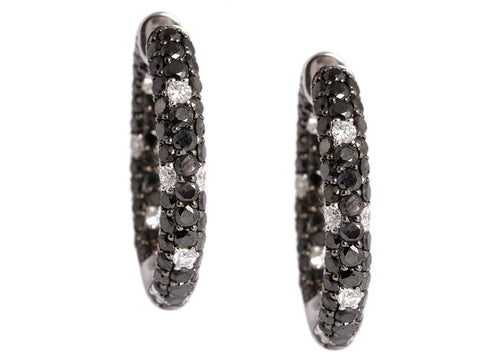 6.80 Carats Black and White Diamond Hoops