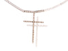 14K White Gold White and Brown Diamond Double Cross Pendant Necklace