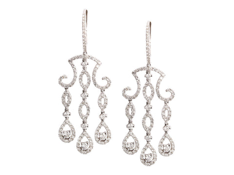 Diamond and 18K White Gold Chandelier Drop Hoop Earrings