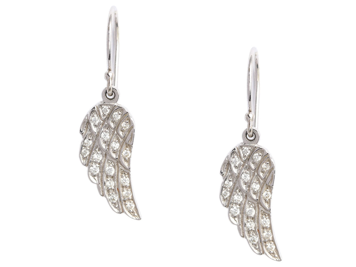 Pavé Diamond and 14K White Gold Angel Feather Wing Pierced Earrings