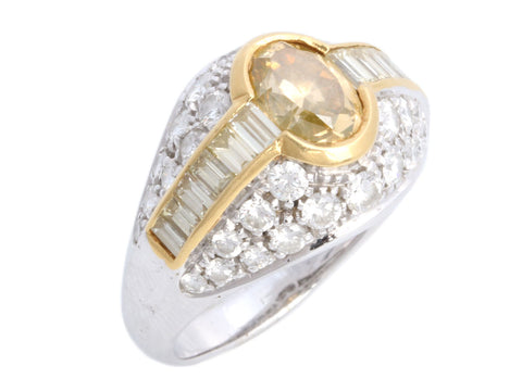 18K Gold White and Yellow Diamond Ring