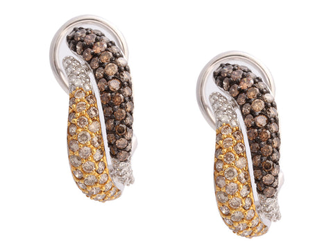 14K White Gold Tricolor Diamond Pierced Earrings