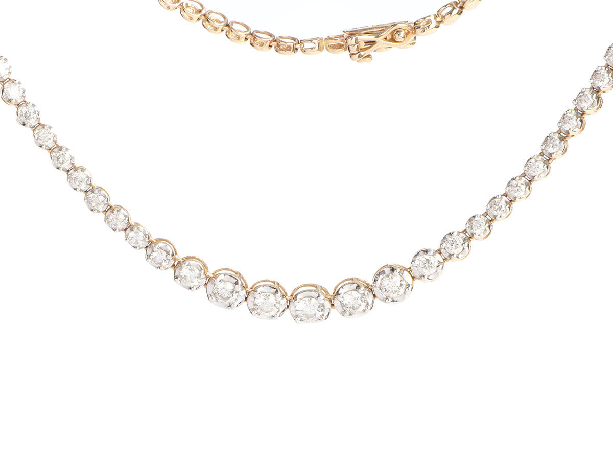 14K Yellow and White Gold Diamond Graduated Necklace