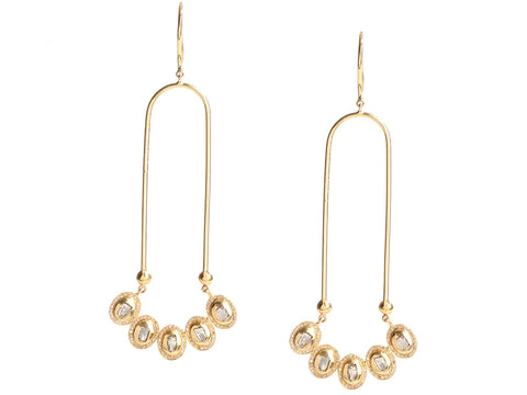 18K Yellow Gold Diamond Pierced Drop Earrings
