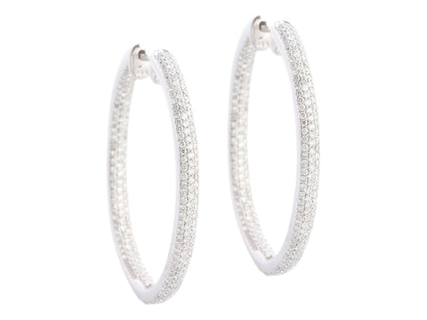 14K White Gold 3-Carat Diamond Inside-Out Pierced Hoop Earrings