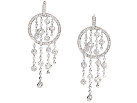 Di Modolo 18K White Gold Diamond Tempia Pierced Chandelier Drop Earrings