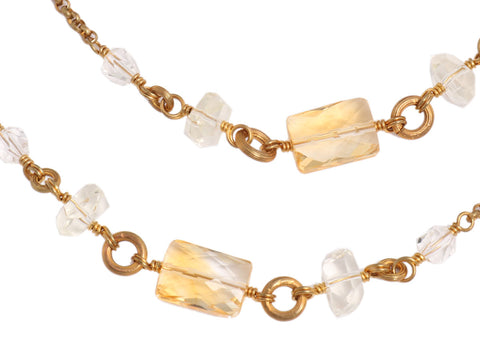 Stephen Dweck Long Crystal and Citrine Bronze Necklace