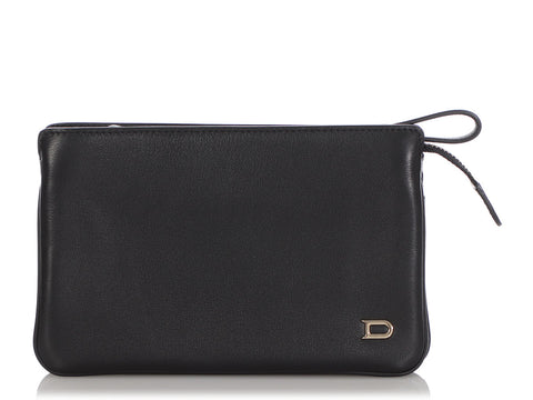 Delvaux Black Triple Zip Wallet/Wristlet Pouch