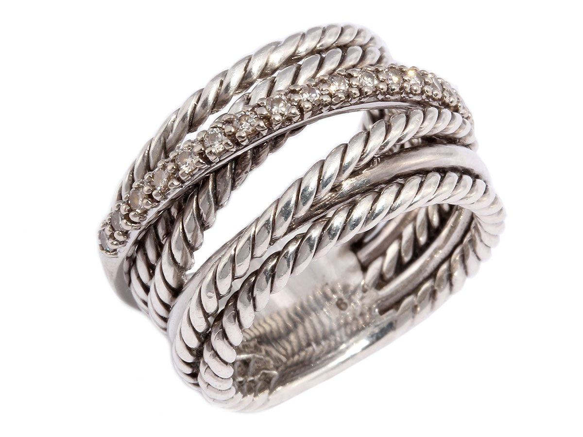 David Yurman Wide Crossover Diamond Ring