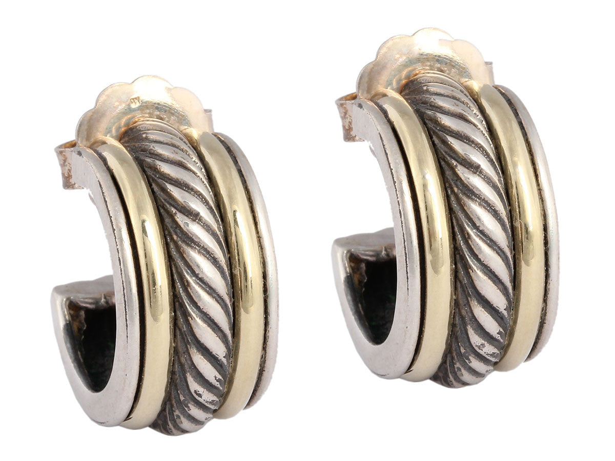 David Yurman Wide Two Tone Huggie Earrings