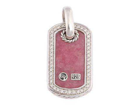 David Yurman Diamond and Rhodonite Dog Tag