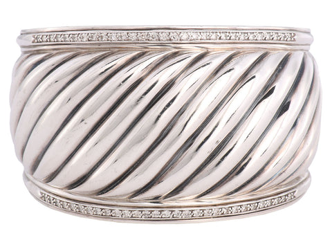 David Yurman Wide Diamond Thoroughbred Cuff