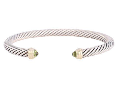 David Yurman Sterling Peridot Cable Cuff