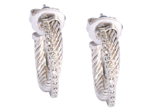 David Yurman Small Diamond Crossover Earrings