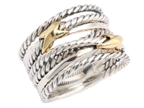 David Yurman Two Tone Double X Ring